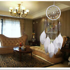 MS6001 Handmade White Feather Dream Catcher Single Circle Wind Chime B
