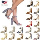 New Women Fashion Ankle Strap Band Chunky Block High Heel Dress Sandals Shoes
