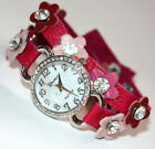 Womens Ladies Geneva Crystal Metal Stud Leather Wrap Around Fashion Wrist Watch
