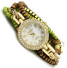 "Small Wrist 5"" - 6"" Womens Ladies Geneva Beaded Crystal Wrap Around Wrist Watch"