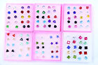 new 6mm Imitation Zircon Resin Crystal Copper Clip Stud Earrings  10pairs / lot