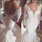 V neck Mermaid Satin Lace Wedding dresses 2018 New Long Sleeve Sheer Bridal Gown