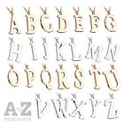 Stainless Steel Alphabet Letter A to Z Pendant & Necklace Silver or Rose Gold