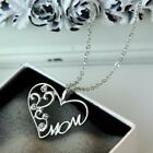 Crystal Mom lOVE Heart Pendant Necklace Jewelry Grandmother Mother's Day Gift