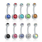 UK Surgical Steel Belly Navel Belly Bars Navel Button Ring Double Crystal Gem EW