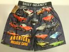 Brief Insanity Men's Boxer Shorts American Muscle Cars Gray Boxers Shorts NEW