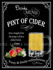 PINT OF CIDER  RETRO PUB,BAR,CLUB,  HOME BAR,METAL SIGN :3 TO CHOOSE FROM