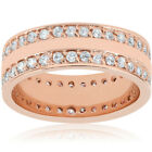 1 1/2ct Double Row Diamond Eternity Wedding Ring 14K Rose Gold Double Row Band