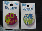 La Mode Wooden Buttons: One world peace sign; Go Green