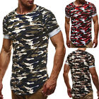 Men Short Sleeve Camouflage Work Out Casual T-shirt Crew Neck Slim Fit shirt Top