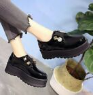 Chic Loafers Womens Shoes Retro Creeper Pumps College British Rhinestone Gommino