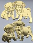 Cute Pug Dog Die Cuts Card Toppers - Assorted sets of 8 pairs in various colours