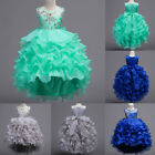 Flower Girl Dress Formal Party Tiered Trailing Gown for Kids Wedding Bridesmaid