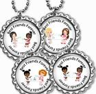 Best Friends Forever Tea Party Girl's Bottle Cap Necklace w/Chain Handcrafted