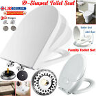 LUXURY OVAL / D SHAPE HEAVY DUTY SOFT CLOSE WHITE TOILET SEAT & 5L PORTABLE LOO