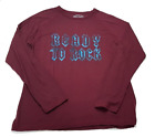 Red Camel Men's Long Sleeve Crewneck Tshirt Top Burgundy Red Ready to Rock XXL