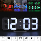 Digital LED 3D Desk Wall Clock Snooze Timer Watch 24/12Hour Alarm Home Office US