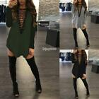 Femmes Casual Long Sleeve Solid V-Neck Lace-up Loose Mini Dress IS 01