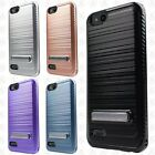 For ZTE Blade Vantage Brushed HYBRID Kickstand Shockproof Carbon Fiber Trim Case