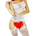 New Women Sexy Lingerie Fishnet Sleepwear Body Stocking Thigh High Lace Bodysuit