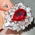 Handmade Princess cut Red ruby  925 Silver Filled Wedding Ring Gift Size 6-10
