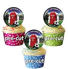 24 Circle Football FATHERS DAY Cup Cake Stand Up Toppers - Arsenal Colours