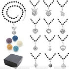 Charm Locket Hollow Openable Pendant Chain Necklace + Lava Rock Jewelry Gift