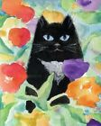 Pretty Black Persian Cat in Red Yellow Poppies Print or Cross Stitch Pattern