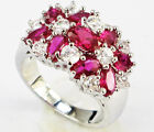 Lady/Women's Silver 14KT White Gold Filled Ruby Wedding Ring Gift size 7