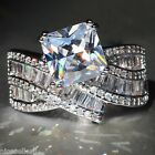 NO.641 White Sapphire Birthstone 925 Silver Filled Bridal Wedding Ring Size 9