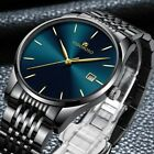 New Mens Fashion Stainless Steel Waterproof Date Analog Quartz Sport Wrist Watch