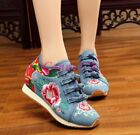 Chinese Style Embroidered Womens Canvas Casual Low Top Leisure Shoes Hidden Heel