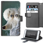 Animal White Otter Beaver PU Leather Wallet Phone Case, Flip Case, Cover