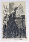 1878 small magazine engraving ~ THE PET CANARY ~ women watches bird in cage