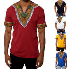 Внешний вид - Fashion Men Short Sleeve Shirt V-Neck African Dashiki Tribal Casual Top T-shirt