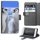 HAIRYWORM TWO BABY PENGUINS BIRDS LEATHER WALLET PHONE CASE, FLIP CASE, COVER