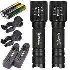 8000LM 2 x Tactical Flashlight skywolfeye T6 High Powered 5Modes Zoom Batteries