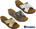 Wedge Sandals Slip On Inblu Padded Leather Insock Cross Strap Open Toe UK 2.5-8