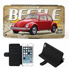 Personalised Volkswagen Beetle Red iPhone Flip Case Classic Car Phone Cover CL59