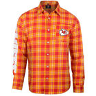 Kansas City Chiefs Wordmark Flannel Long Sleeve Button-Up - Red