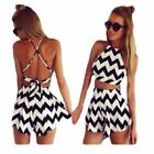 Ladies Co-ord Crop Top & Shorts Set Sumer Holiday Black & White