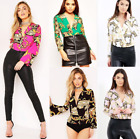 Womens Ladies Wrap Over Satin Collar Baroque Scarf Print Plunge Bodysuit Blouse