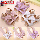 KIDS GIRLS BOWKNOT OPEN TOES SANDALS SUMMER BEACH PARTY FLAT PRINCESS SHOES SIZE