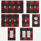 black switch plates - Red and Black Buffalo Plaid Woodland Nursery Light Switch Covers