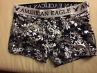 Men American Eagle Outfitters Black Siler Snowflakes Print Boxers BriefsTrunkXS.