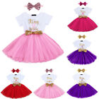 2PCS Baby Girls 1st First 2nd Birthday Party Dress Sequins Bow Headband Outfits