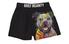 Brief Insanity Men's Boxer Shorts Beware Pit Bull Russo Dog Design Boxers Silky
