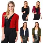 Women Ladies Lace Back 3/4 Sleeve Cropped Party Shrug Top Bolero Cardigan Jacket