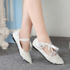 Pearls Lace Flats Women New Pumps Mary Jane Princess Wedding Party Bridal Shoes