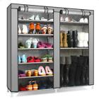 Double Row 6 Tier 9 Grid Shoe Boot Tower Rack Organizer Storage Cabinet w/ Cover